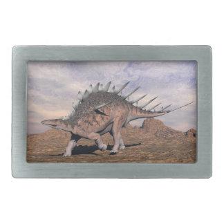Kentrosaurus dinosaur in the desert - 3D render Rectangular Belt Buckle