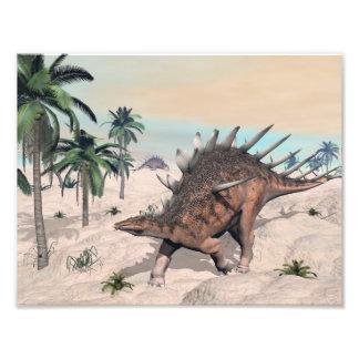 Kentrosaurus dinosaurs in the desert - 3D render Photo Print