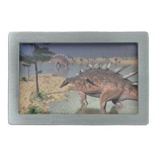 Kentrosaurus dinosaurs in the desert - 3D render Rectangular Belt Buckles