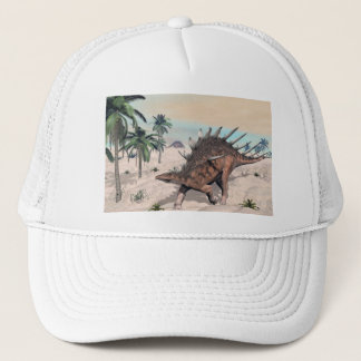 Kentrosaurus dinosaurs in the desert - 3D render Trucker Hat