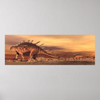 Kentrosaurus dinosaurs mum and baby - 3D render Poster