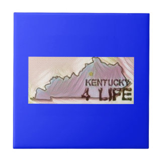 """Kentucky 4 Life"" State Map Pride Design Ceramic Tile"