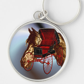 Kentucky Bluegrass Horse and Buggy Silver-Colored Round Key Ring