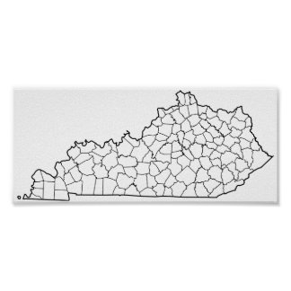 Kentucky Counties Blank Outline Map Poster