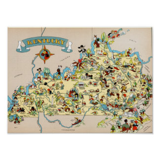 Kentucky Funny Vintage Map Posters