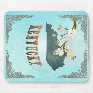 Kentucky Map With Lovely Birds Mouse Pad