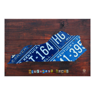 Kentucky State License Plate Map Poster