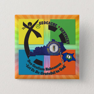 KENTUCKY STATE MOTTO GEOCACHER 15 CM SQUARE BADGE