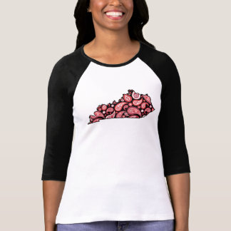 Kentucky State Outline Red Paisley T-Shirt