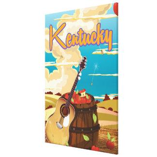Kentucky vintage cartoon travel poster canvas print