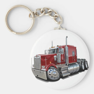 Kenworth w900 Maroon Truck Basic Round Button Key Ring