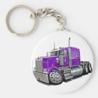 Kenworth w900 Purple Truck Basic Round Button Key Ring