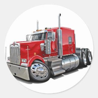 Kenworth w900 Red Truck Round Sticker