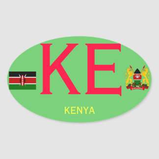 KENYA*- European-style Oval Sticker