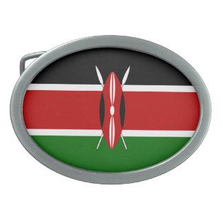 Kenya Flag Oval Belt Buckle