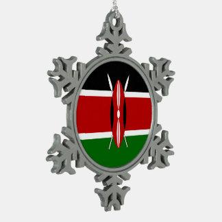 Kenya Flag Snowflake Pewter Christmas Ornament