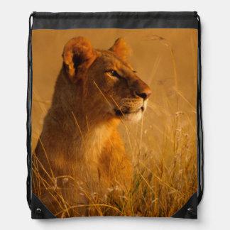 Kenya: Masai Mara Game Reserve, head of female Drawstring Bags
