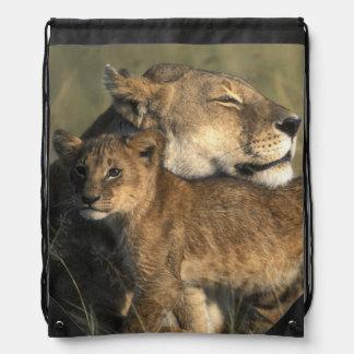 Kenya, Masai Mara Game Reserve, Lioness Drawstring Bag