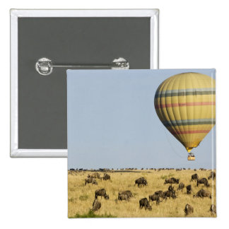 Kenya, Masai Mara. Tourists ride hot air balloon 15 Cm Square Badge