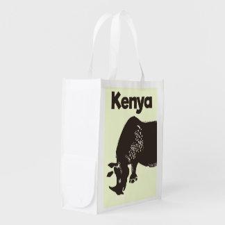 Kenya Rhino African vintage poster Reusable Grocery Bag