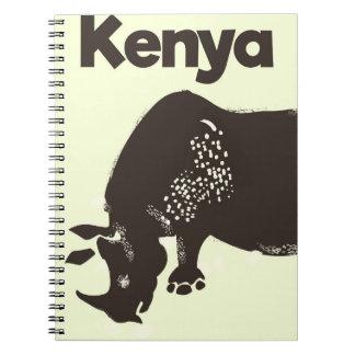 Kenya Rhino African vintage poster Spiral Notebook