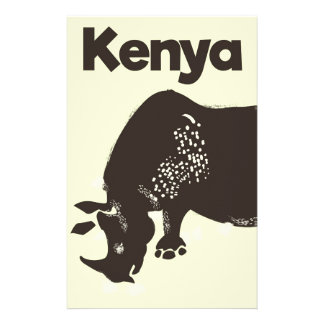 Kenya Rhino African vintage poster Stationery