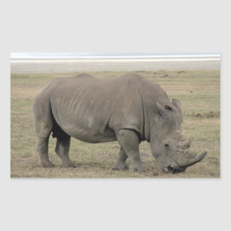 kenya rhino rectangular sticker