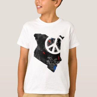 Kenya Trendy Peace Sign with Kenyan map T-Shirt