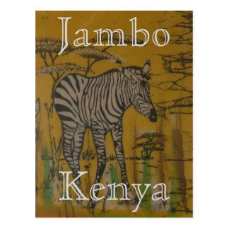 Kenya Wild Life African Safari Zebra Postcard