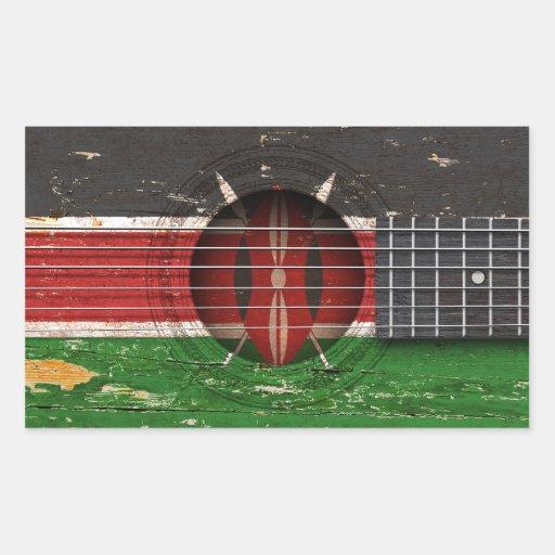 Kenyan Flag on Old Acoustic Guitar Sticker