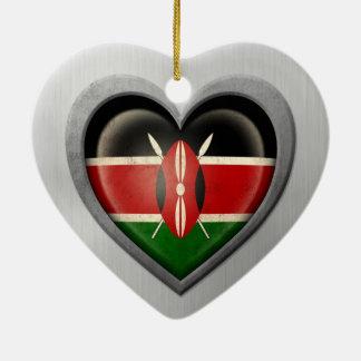 Kenyan Heart Flag Stainless Steel Effect Ceramic Heart Decoration