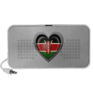 Kenyan Heart Flag Stainless Steel Effect Speakers