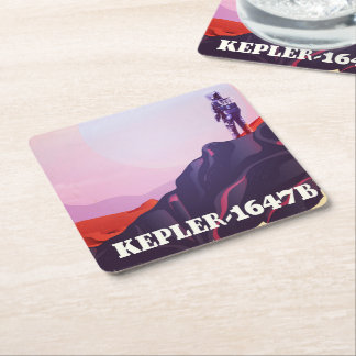 Kepler - 1647B travel poster Square Paper Coaster