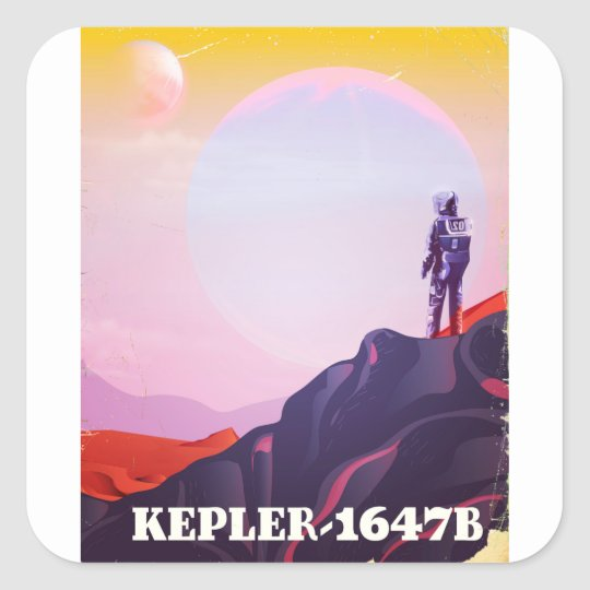 Kepler - 1647B travel poster Square Sticker