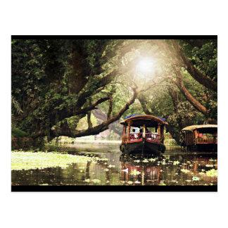 Kerala boat house postcard