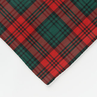 Kerr Clan Red and Forest Green Tartan Fleece Blanket