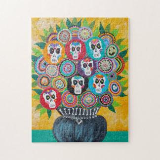 Kerri Ambrosino Art Puzzle Sugar Skull Flowers