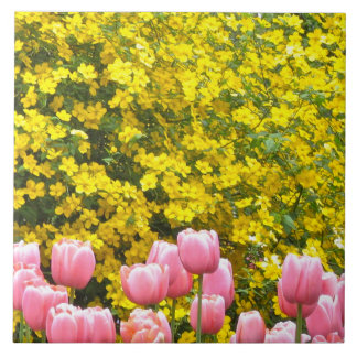 Kerria and Pink Tulips Large Square Tile
