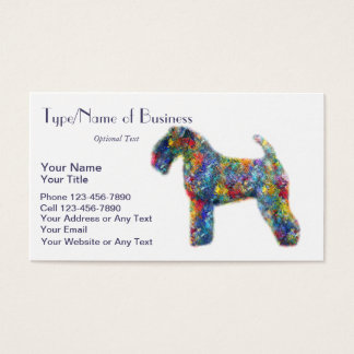 Kerry Blue Terrier Silhouette Dog Art Oil Painting Business Card