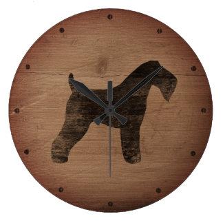 Kerry Blue Terrier Silhouette Rustic Large Clock