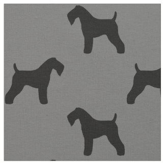 Kerry Blue Terrier Silhouettes Pattern Fabric