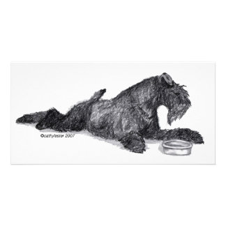 Kerry Blue Terrier with Bowl Customised Photo Card