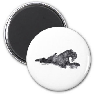 Kerry Blue Terrier with Bowl Magnet