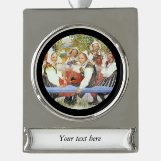 Kersti's Birthday Party Silver Plated Banner Ornament