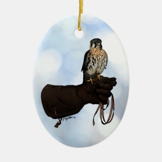 Kestrel on Glove Illustration Ceramic Ornament