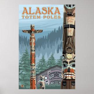 Ketchikan, Alaska - Saxman Totem Village Poster