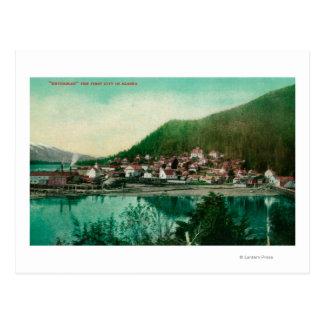 Ketchikan, Alaska Town View - First City in Postcard