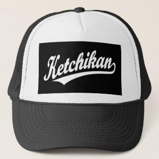 Ketchikan script logo in white trucker hat