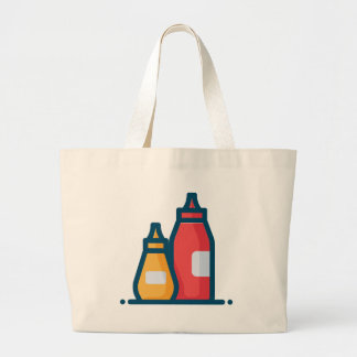 Ketchup and Mustard Large Tote Bag