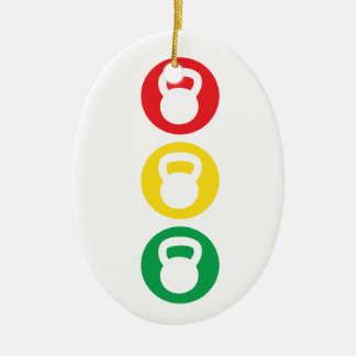 Kettlebell Traffic Light - Ready Set Go Ceramic Ornament